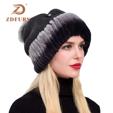 ZDFURS*2019 New Women Rex Rabbit Fur Hats with Knitted Wool Caps Winter Warm Headgear Fox Balls Diamond Accessory