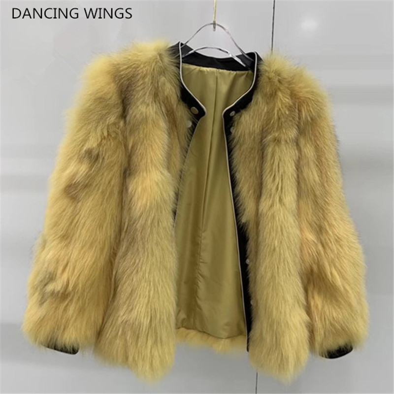 Coat Women Outerwear Jacket Short Patchwork Real-Fox-Fur Genuine-Leather Winter Casual