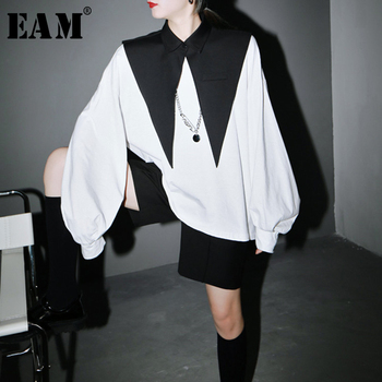 [EAM] Women White Black Split Joint Big Size T-shirt New Round Neck Long Sleeve  Fashion Tide Spring Autumn 2021 1R942 - discount item  33% OFF Tops & Tees