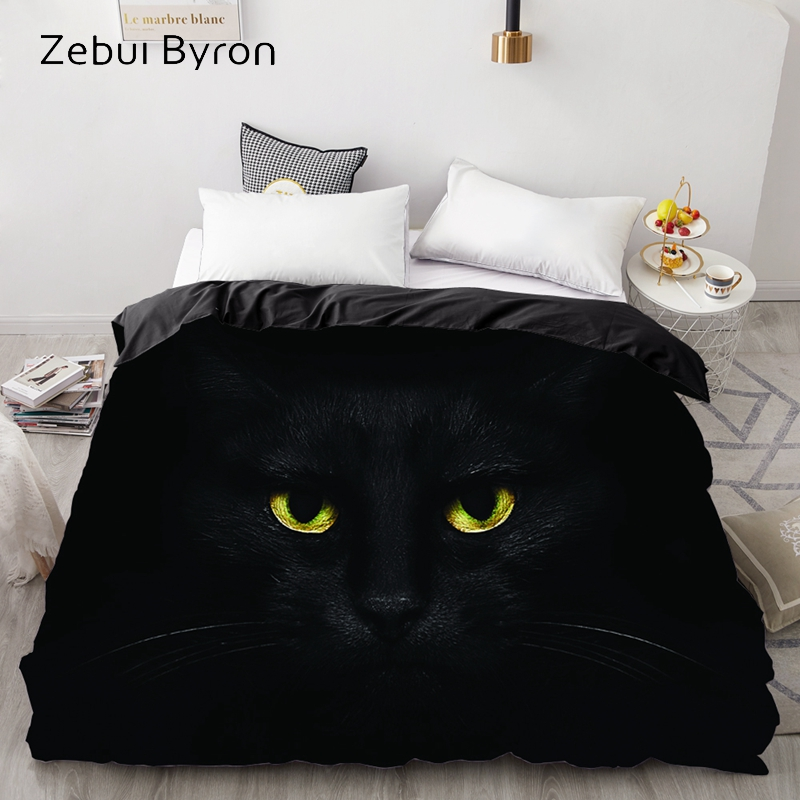 3D Duvet Cover,Comforter/Quilt/Blanket Case Double/Queen/King,Bedding Custom/220x240/200x200,Animal Black Cat Eyes,Drop Ship