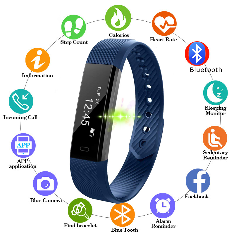 Smart-Bracelet Heart-Rate-Monitoring Bluetooth-Notification Waterproof Men Women NEW