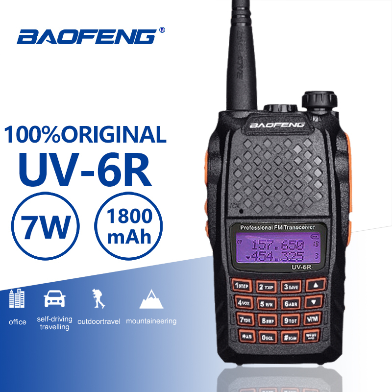 Baofeng UV-6R Orange Keyboard 7W Walkie Talkie UHF VHF Dual Band UV 6R Walky Talky FM 128CH VOX Ham Radio UV6R For Hunting Radio