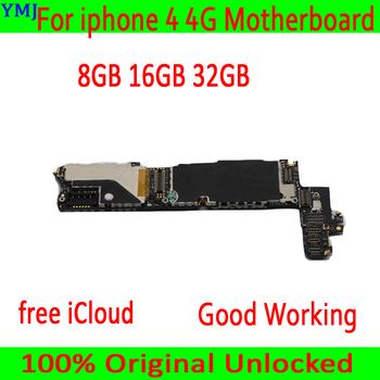 Darmowa wysyłka 8GB 16GB 32GB dla iphone 4 płyta główna z darmowy icloud oryginalny odblokowany dla iphone 4 4g płyta główna + pełne żetony tanie i dobre opinie for iphone 4 4G for mobile motherboard Wewnętrzny Apple iphone Original unlocked Disassembly used 8GB 16GB 32GB