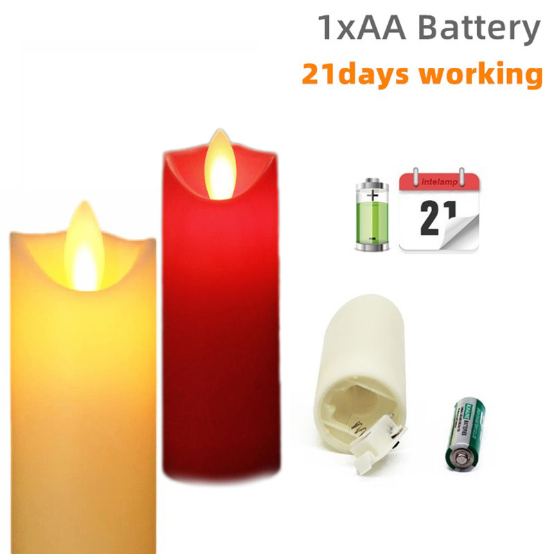 GYLBAB 21 Days Led Night Light Mini Candle Lamp Flame Flickering AA Battery Powered Mode For Holiday Christmas
