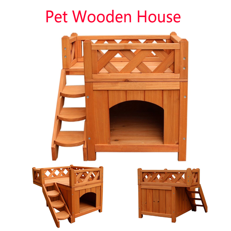 Wooden Puppy Pet <font><b>Dog</b></font> <font><b>House</b></font> <font><b>Wood</b></font> Room In/<font><b>Outdoor</b></font> Raised Roof Balcony Bed Shelter Pet Wooden Cat <font><b>House</b></font> image