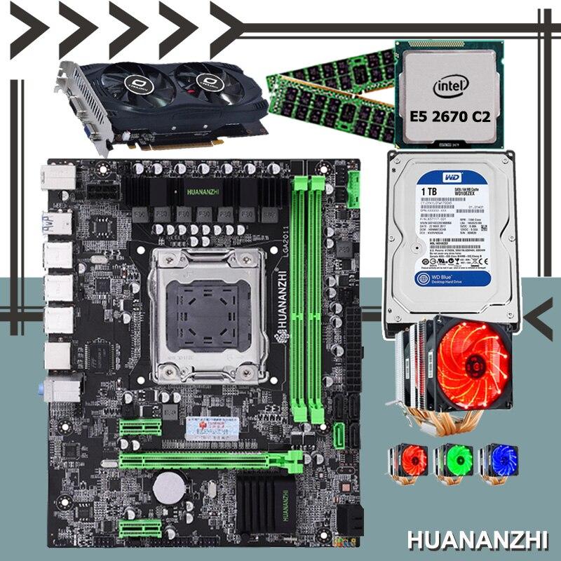 Bon HUANANZHI X79 M-ATX réduction carte mère CPU Xeon E5 2670 C2 6 radiateur refroidisseur RAM 2*8G 1600 RECC 1 to SATA HDD GTX750Ti 2G
