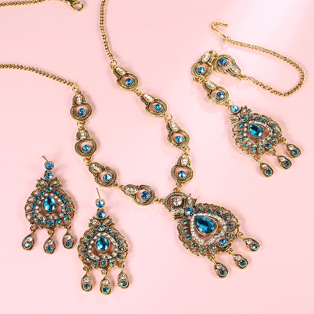 From India Vintage Look Jewelry Sets Pendants Necklace Earring For Women Gold-Color Mosaic  Blue Crystal Party Gifts 5