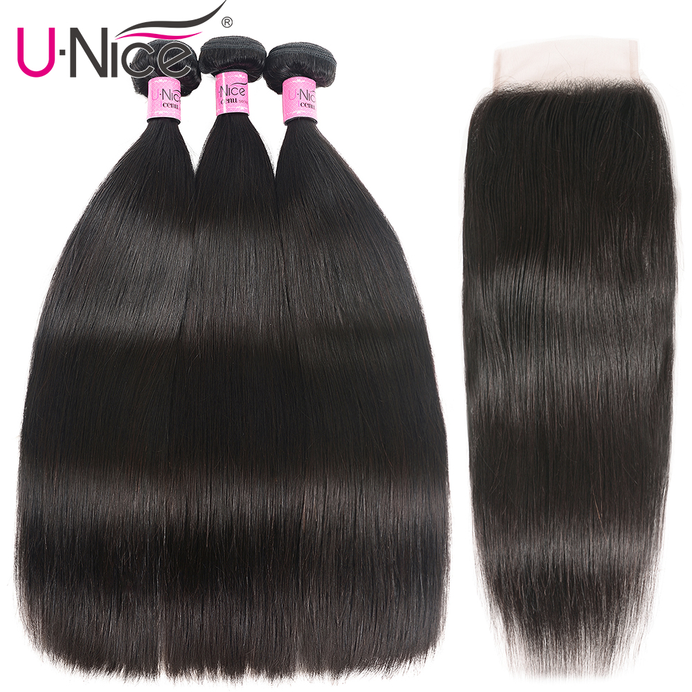 Hb898cac8424744709de1aef1842af3d3b UNice Hair Transparent Lace With Closure 8-30 Malaysian Straight Hair 3 Bundles with Closure Remy Human Hair Extension Bundles