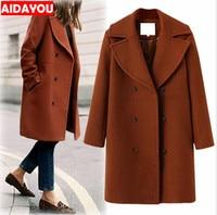Winter Warm Woolen Overcoat Fashion Loose Long Sleeve Button Plus Size Woolen Womens Jacket Coat ouc312