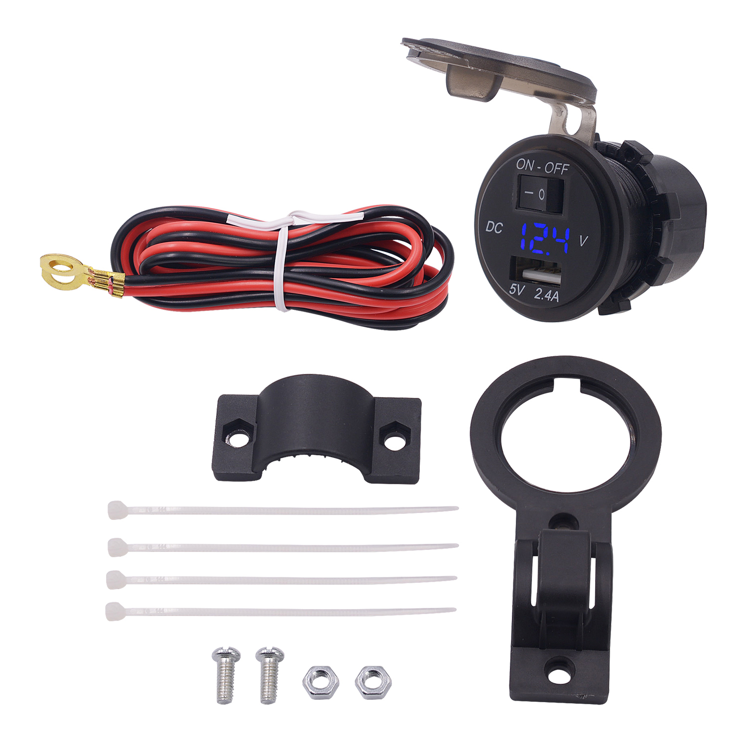 Switch USB Voltage Meter: 6-38V Voltmeter Support For All Phones Pad Car Appliances For Motorcycle ATV Snowmobile Fixed Holder