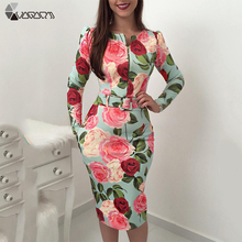 Womens Spring Autumn Flower Print Boho Dress Long Sleeve Package Hip Slim Sexy Dress Prom Party Tunic Dresses Belt Vestidos flower print tunic dress