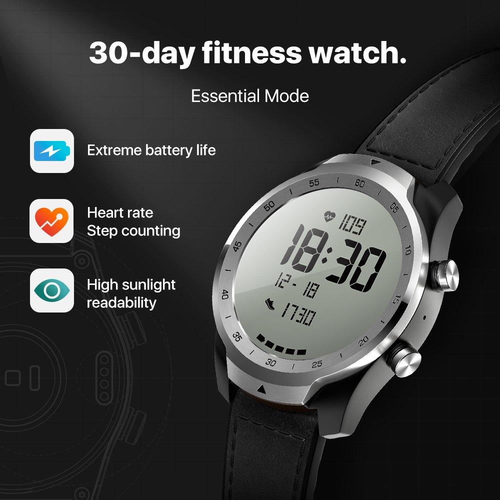 TicWatch Pro argent montre intelligente affichage en couches montre Bluetooth avec GPS paiement NFC IP68 Google Play Original - 4
