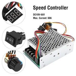 Image 2 - Contrôleur de vitesse de moteur réversible, 60a, DC10 55V W, contrôleur de vitesse, commande PWM, démarrage doux, module de commande réglable