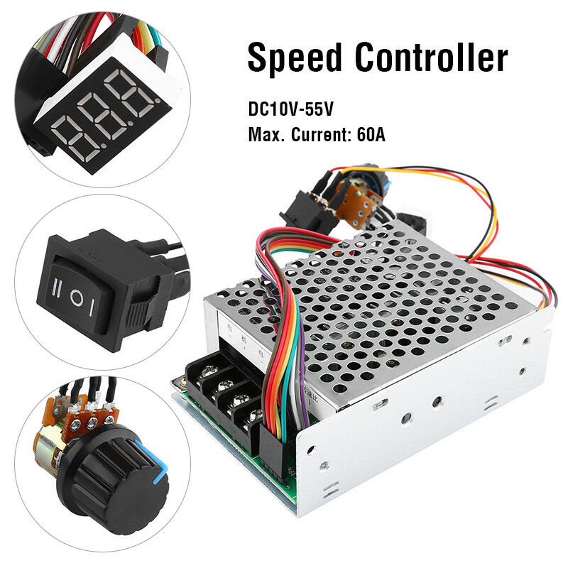 Image 2 - DC10 55V 60A 5000W Reversible DC Motor Speed Controller PWM Control Soft Start Adjustable drive moduleMotor Controller   -