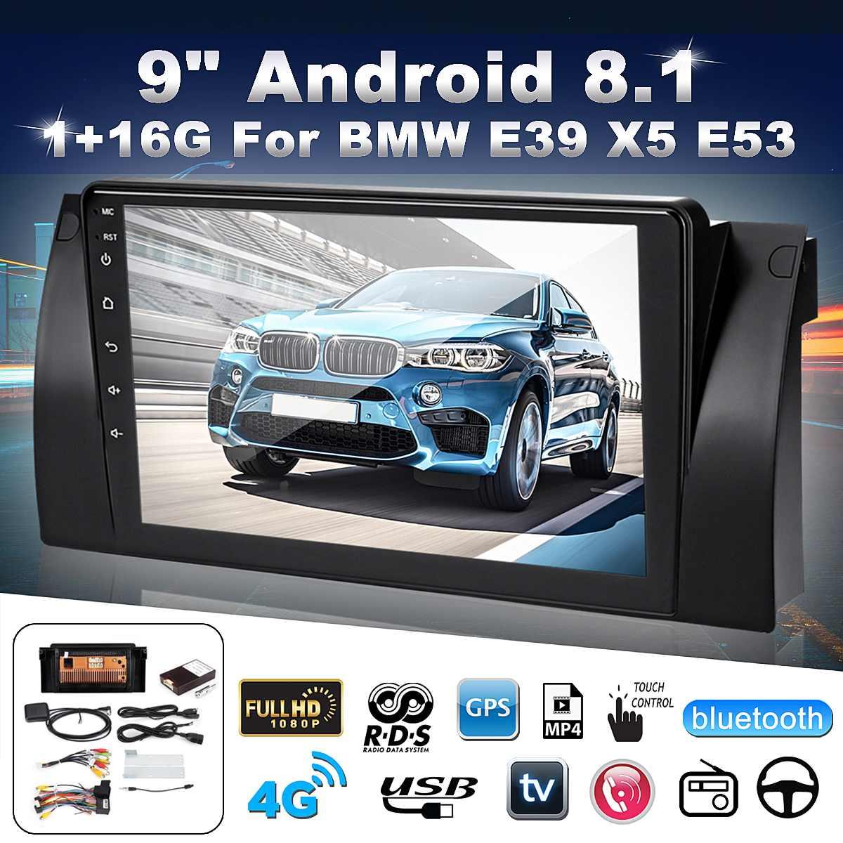 """1 din 9 """"android 8.1 player multimídia do carro rádio estéreo dvd player tela de toque gps bluetooth wifi usb para bmw e39 e53 x5 m5"""