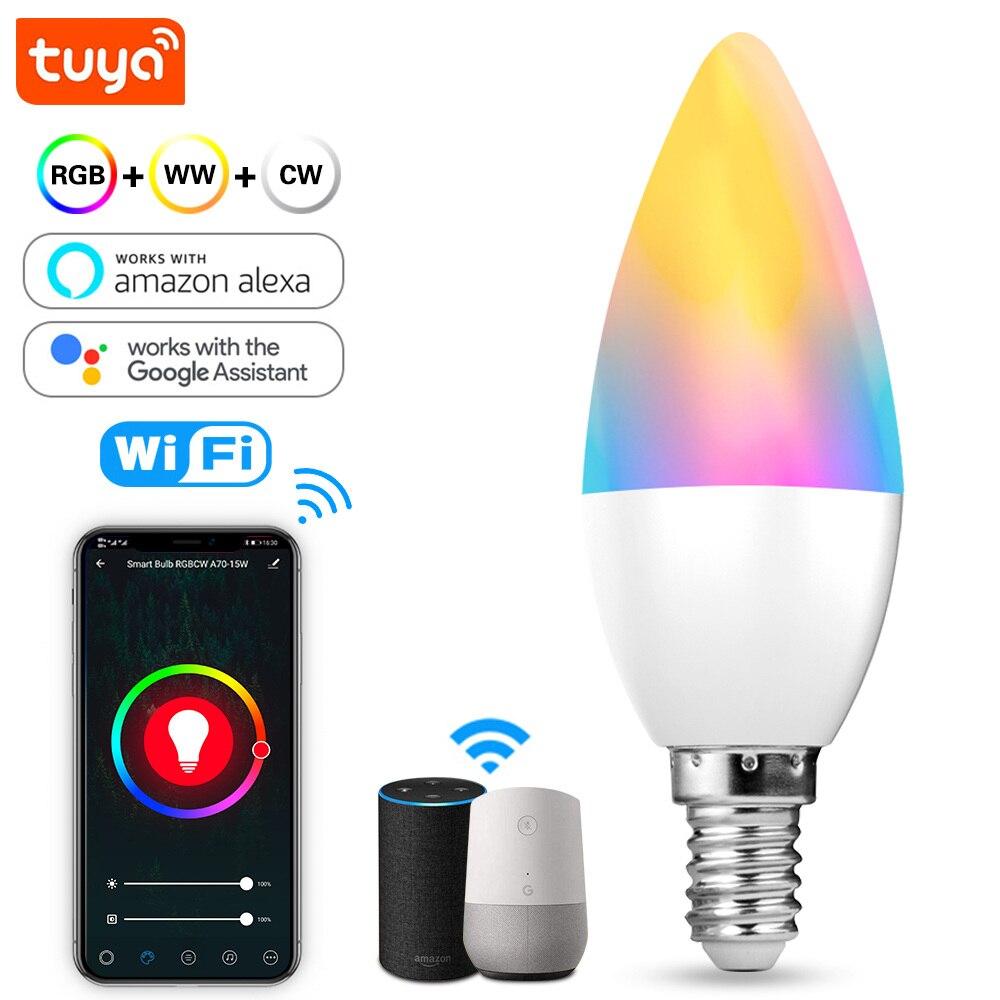E14 Tuya Smart Wifi светодиодные лампы с регулируемой яркостью 5 Вт Цвет изменение светильник RGB + теплый белый + белый голос Управление с Alexa и Google Home