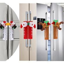 Рождественские украшения Ручка дверцы холодильника Чехлы мультфильм милые СВЧ двери холодильник ручки наборы Рождественский подарок