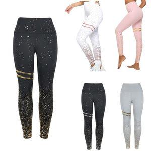Image 2 - Mallas de cintura alta para mujer, pantalones largos ajustados con puntos, con estampado de brillo dorado, para ejercicio, para mujer