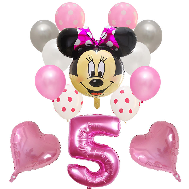 14pcs Latex Mickey Minnie Heart Mouse Foil Balloons For Baby Shower Number Balloon