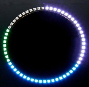 Image 1 - Ring Wanduhr 60 X Ultra Helle WS2812 5050 RGB LED Lampe Panel Für Arduino
