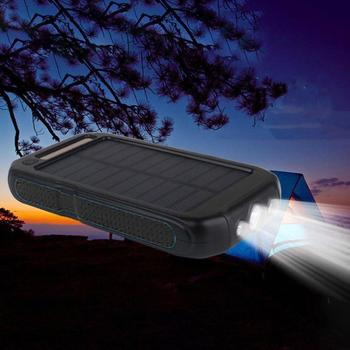 Solar Power Bank 30000mah LED Outdoor Powerbank for All smartphones External Battery Dual Light Portable Mobile Charger 2