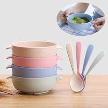 2 Stks/set Baby Kom Set Training Kom Lepel Servies Set Diner Kom Leren Gerechten Kom Lepel Kinderen Training Servies(China)