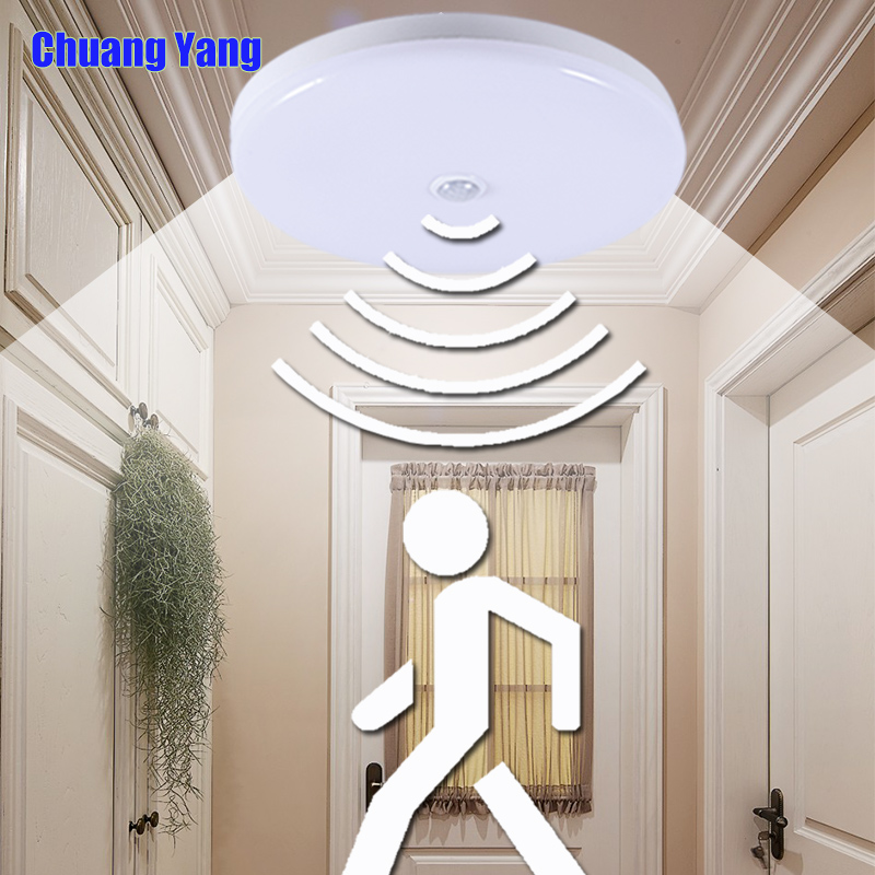 Surface Mounted PIR Motion Sensor LED Ceiling Lamps 12W 18W Night Lighting Modern Ceiling Lights For Entrance Balcony Corridor