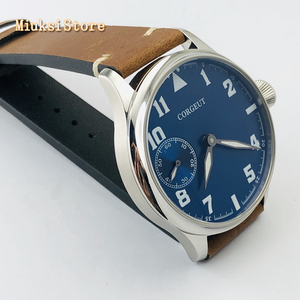 Image 4 - Corgeut Reloj de 44mm para hombre correa de cuero con carcasa plateada, 17 joyas, cuerda mecánica 6497, movimiento manual, reloj deportivo luminoso