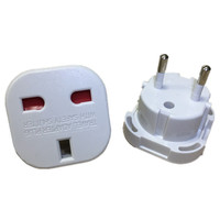 300pcs European EU Germany Power Adapter 2 Pin UK To EU German AC Travel Plug Adapter Outlet Converter Electrical Sockets