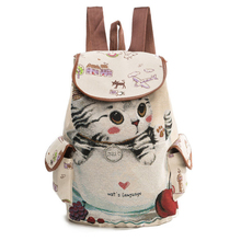 Female women canvas embroidered backpack preppy style school Lady girl student school laptop bag mochila bolsas цена