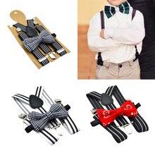 Men Elastic Clip-on Suspenders w/ Bow-Tie Set 3 Clips Y-Shape Braces Straps