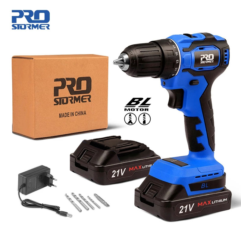 21V Cordless Drill 40NM Brushless Mini Electric Driver Screwdriver 2 0Ah Battery Household Power Tools 5pcs Bits by PROSTORMER