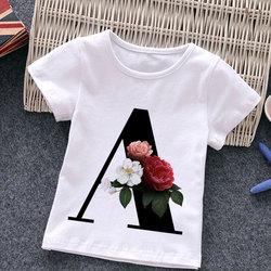 Unisex Summer New T-shirt Fashion Alphabet Girls Tshirts Harajuku Retro Boy Tshirt Flowers Element Nice Round Neck Kids Tshirt