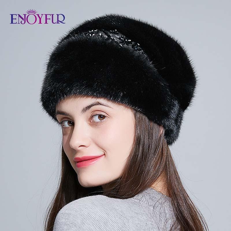 ENJOYFUR Whole Mink Fur Hats For Women Winter Elegant Princess Fur Beanies Russian Style Warm Fur Caps 2019 New Fashion
