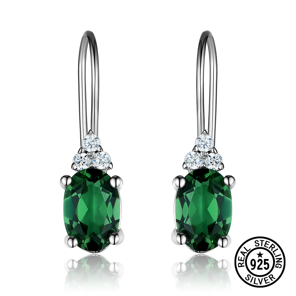 Dyson 925 Sterling Silver Earrings Russian Oval Created Nano Emerald Delicate Clip Earrings for Women Gifts Classic Fine Jewelry