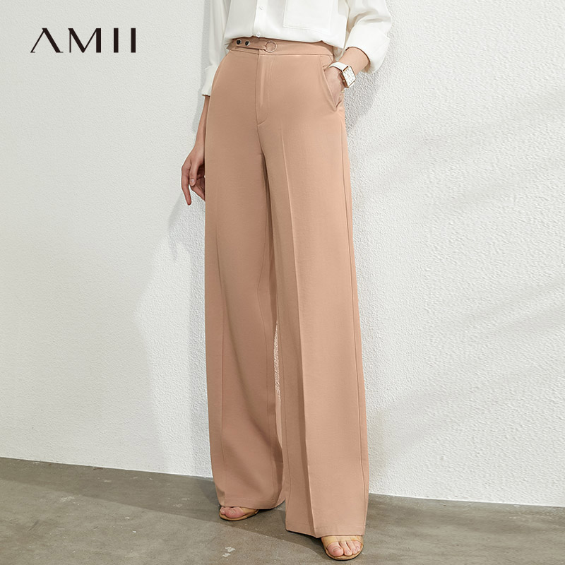 AMII Minimalism Spring Summer Solid High Waist Wide Leg Women's Pant Women Loose Fashion Causal Long Pants 12040239