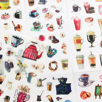 6 Sheets All Kinds of Coffee Stickers DIY Stick Label PVC Phone Hand Account Decor Sticker - discount item  15% OFF Stationery Sticker