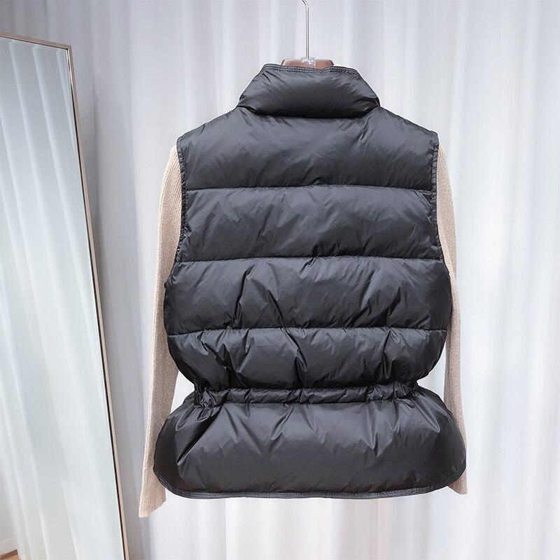 2020 New Ultra Light Down Vest Women Short Vest gilet caldo leggero antivento donna piumino d'anatra bianco senza maniche 3