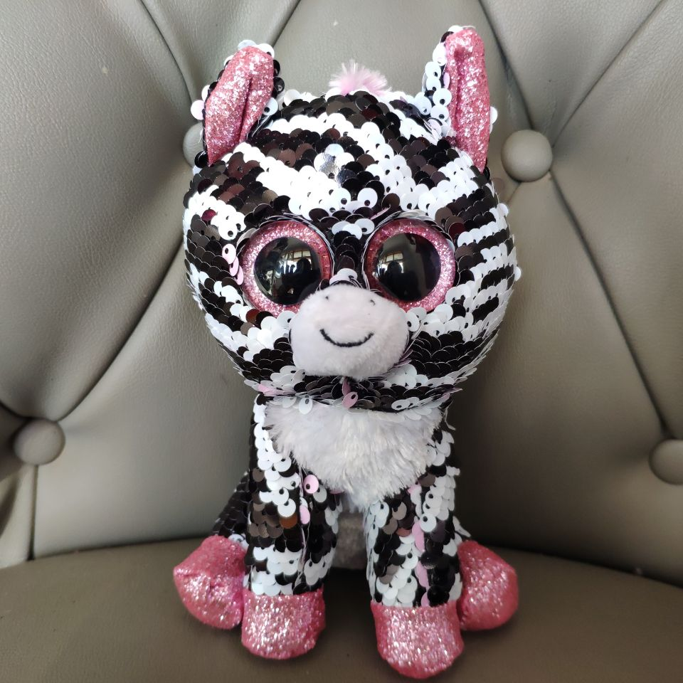 Reversible Sequin ZOEY ZEBRA 15CM Big Eyes Plush Toys Stuffed Animals Christmas Gift Kids Soft Toys
