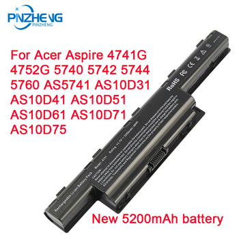 PINZHENG 5200mAh Laptop Battery For Acer Aspire 4741G 4752G 5740 5742 5744 5760 AS10D31 AS10D41 AS10D51 AS10D61 AS10D71 AS10D75 laptop battery for acer aspire 4250 4333 4551 4741 4743 5250 5253 5336 5552 5733 5741 5742 5750 5755 travelmate 5735 5740 5742