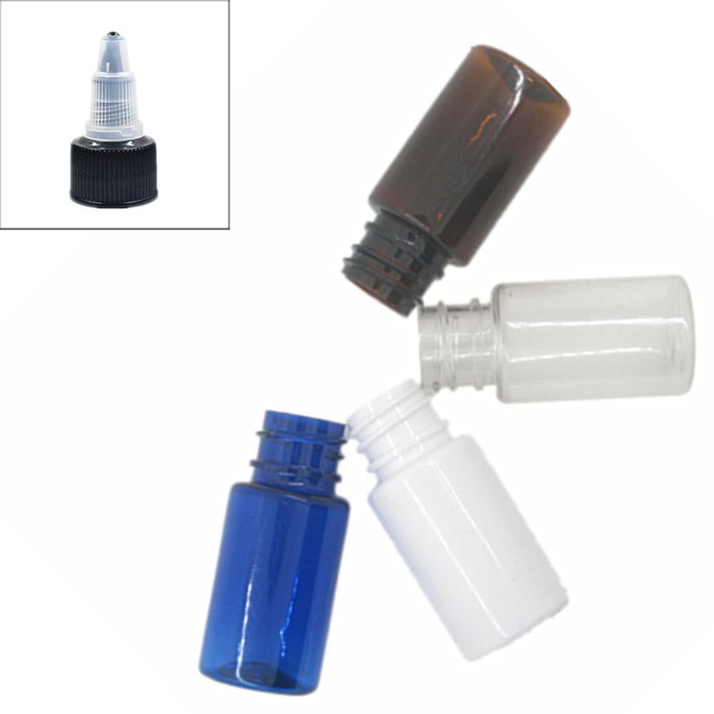 Clear/white/amber/blue PET Bottle,10ml Round Empty Plastic Bottles With Black Twist-open Dispensing Cap X 10