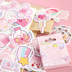 45pcs/pack Lovely Pink Fairy Decoration Sticker Decal DIY Album Scrapbooking Seal Sticker Kawaii Stationery Gift