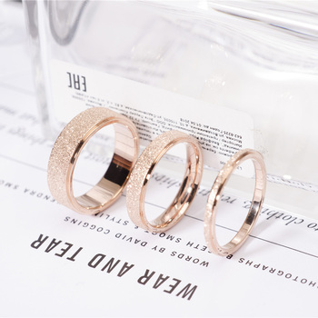 Rose Gold Color Frosted Finger Ring for Woman Man Wedding Jewelry 316L Stainless Steel Top Quality Never Fade 1