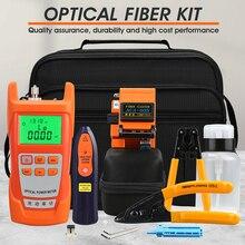13 adet/takım FTTH Fiber optik alet kiti Fiber Cleaver ile 70 ~ + 10dBm optik güç ölçer görsel hata bulucu 5km
