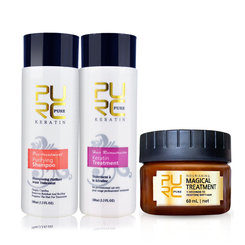 PURC Magical Argan Hair Oil Mask Treatment Repair Hair Keratin Straightener and Purifying Shampoo Refreshing Hair Care
