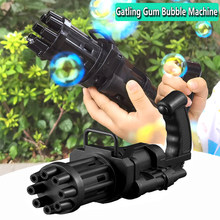 2021 New Plastic Automatic Gatling Bubble Gun Machine 8 Hole Huge Amount Blowing Bubble Summer Outdoor Fun Boy Toys of Kids Gift