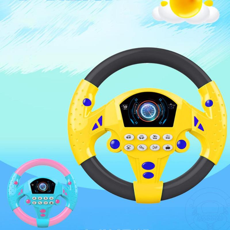 Children Music Steering Wheel Plastic Electric Battery Power Toy Multiple Sound Effects Simulation Copilot Sucker Fixed Gift