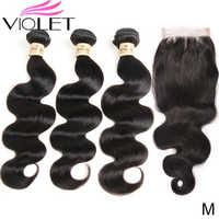 VIOLET Brasilianische Körper Welle Menschliches Haar Weben 3 Bundles Mit 4*4 Spitze Verschluss Nicht-Remy Haar Medium verhältnis