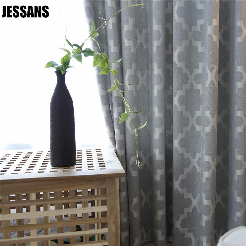 High-grade Cotton Jacquard Curtains for Living Room  Light Blackout gray Curtains for  Bedroom Window