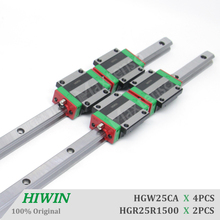 цена на HIWIN HGR25 Linear Guide Rail HGW25CA CC Blocks Carriage router parts 1500mm Linear Guideways for CNC Parts Heavy Load